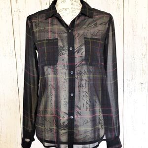 Loft button front sheet plaid blouse